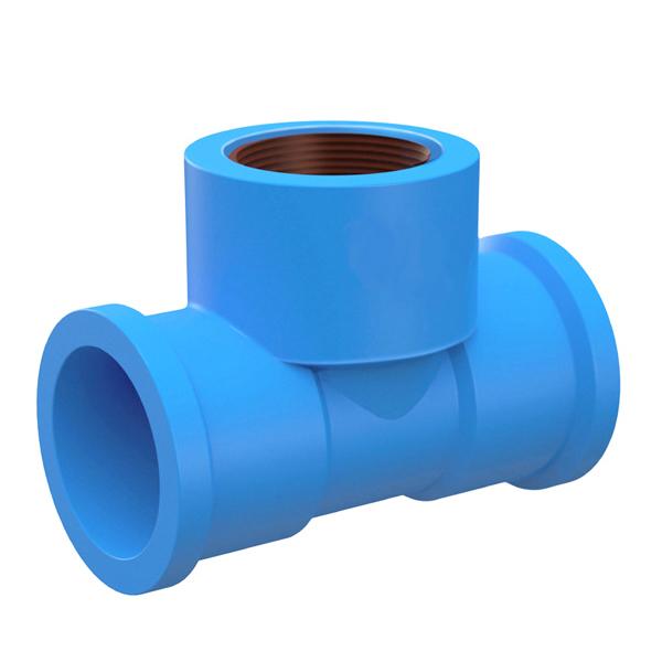 Tê com Bucha Azul PVC Roscável e Soldável